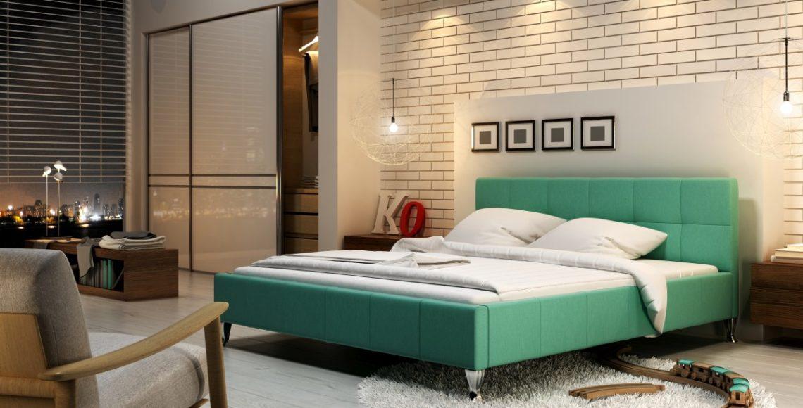 zielone łóżko tapicerowane futura z pojemnikiem na pościel