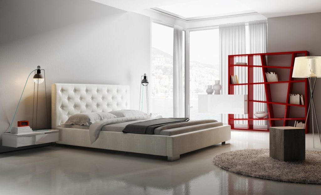 Tapicerowane łóżko idealne do sypialni młodzieżowej
