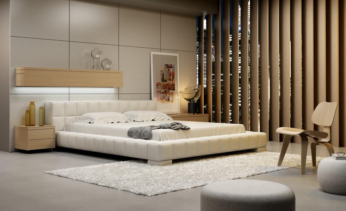 nowoczesne łóżko sypialniane z zagłówkiem