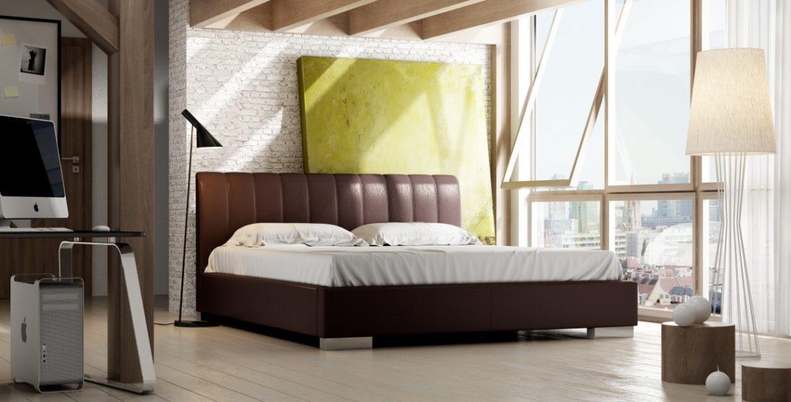 brązowe łóżko tapicerowane naomi z zagłówkami