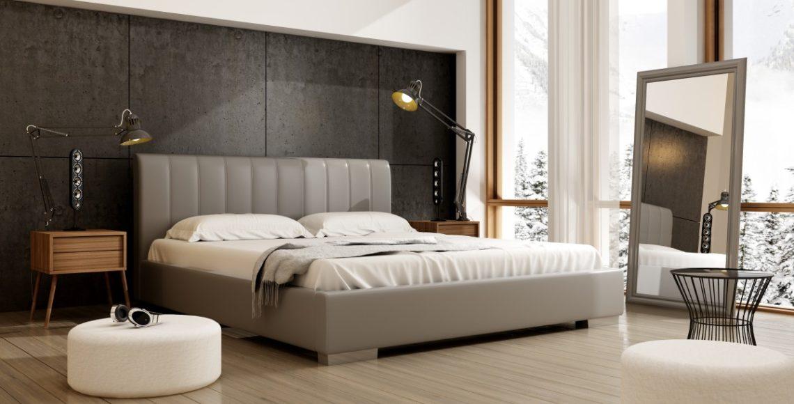 Szare tapicerowane łóżko przeznaczone do sypialni w stylu glamour
