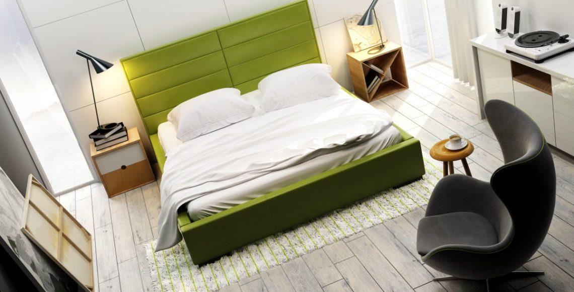 łózko tapicerowane quaddro double w kolorze zielonym z zagłówkiem