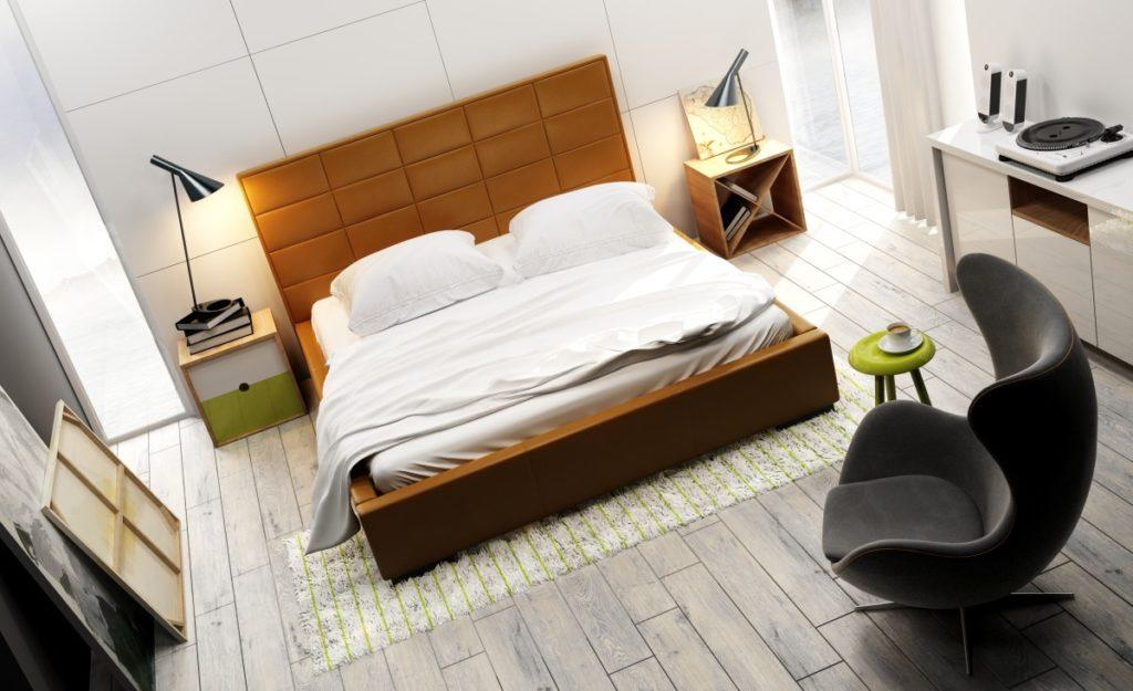 łóżko tapicerowane quadro midi wbrązowym kolorze zagłówka