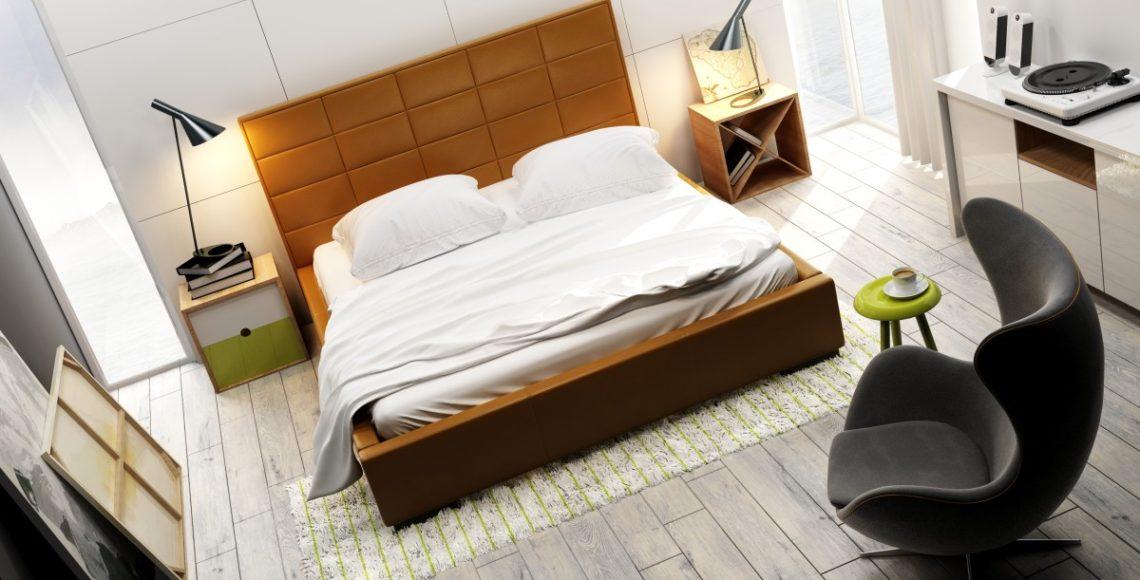łóżko tapicerowane quadro midi w brązowym kolorze zagłówka