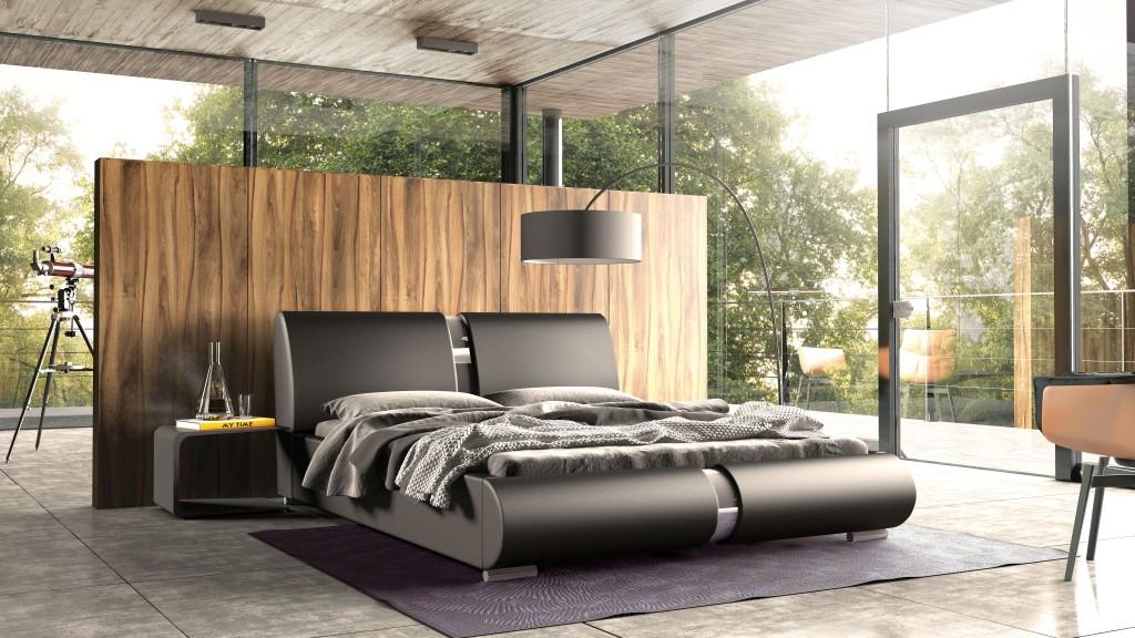 czarne duże łóżko tapicerowane lugano