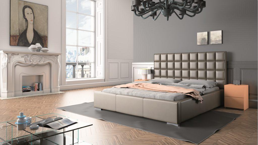 łóżko tapicerowane w stylu glamour z zagłówkiem