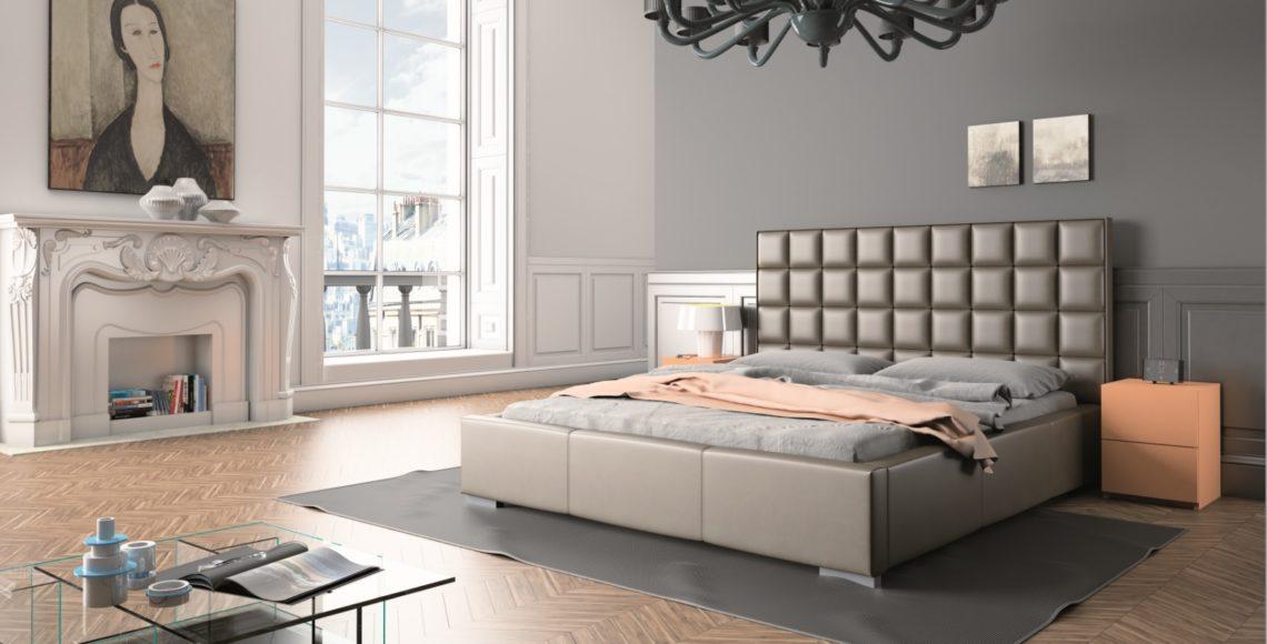 łóżko tapicerowane qw stylu glamour z zagłówkiem
