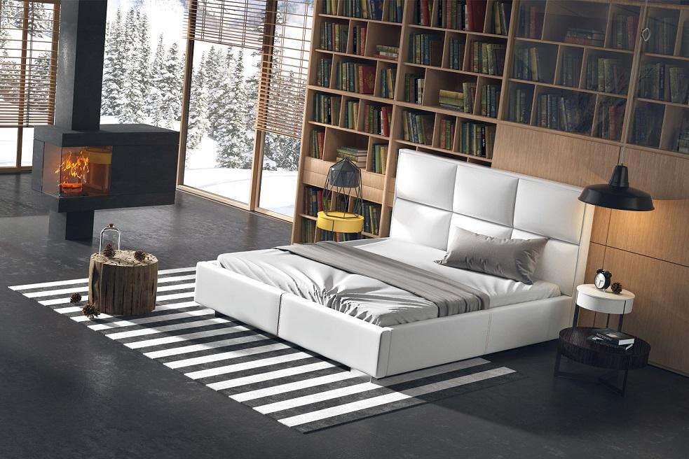 łóżko tapicerowane quadro plus - biała tapicerka