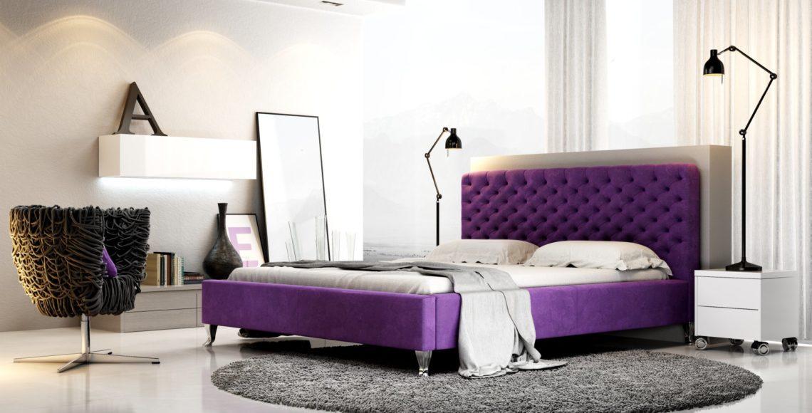 łóżko z zagłówkiem tapicerowanym lazio