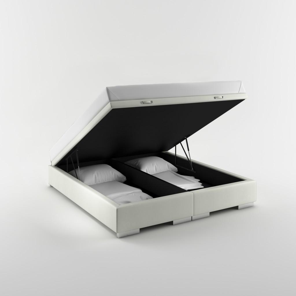 białe łóżko tapicerowane zpojemnikiem napościel