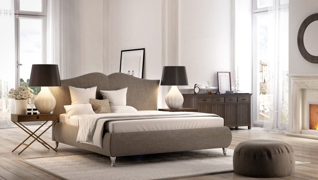 tapicerowane łóżko idealne do sypialnii o klasycznym wystroju