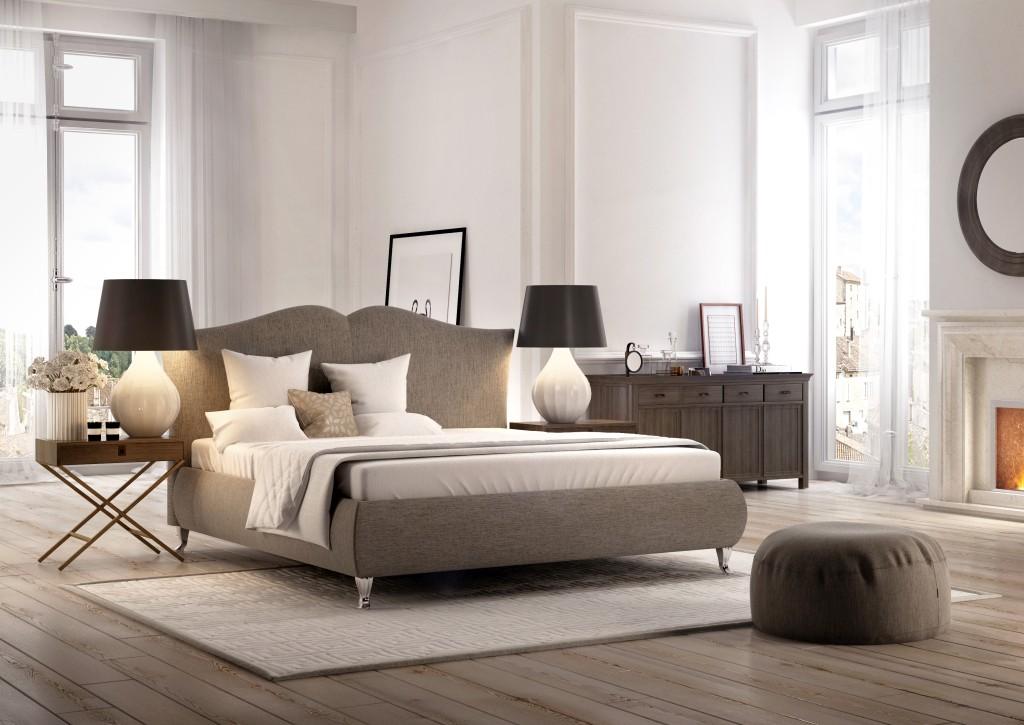 tapicerowane łóżko idealne dosypialnii oklasycznym wystroju
