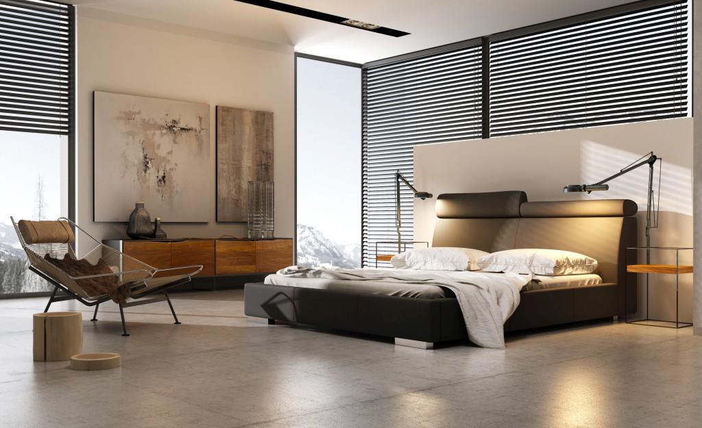 łóżko tapicerowane modern z pojemnikiem na pościel