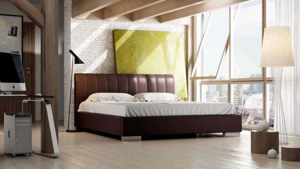Nowoczesne tapicerowane łóżko sypialniane