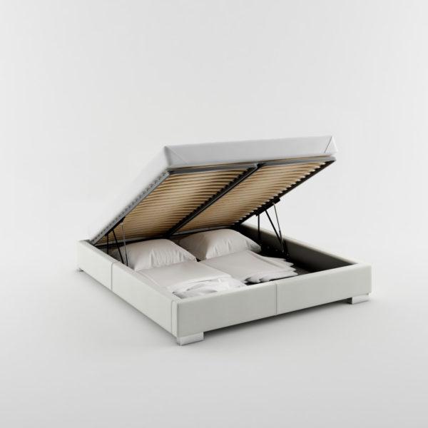 Wygodne tapicerowane łóżko z pojemnikiem na pościel