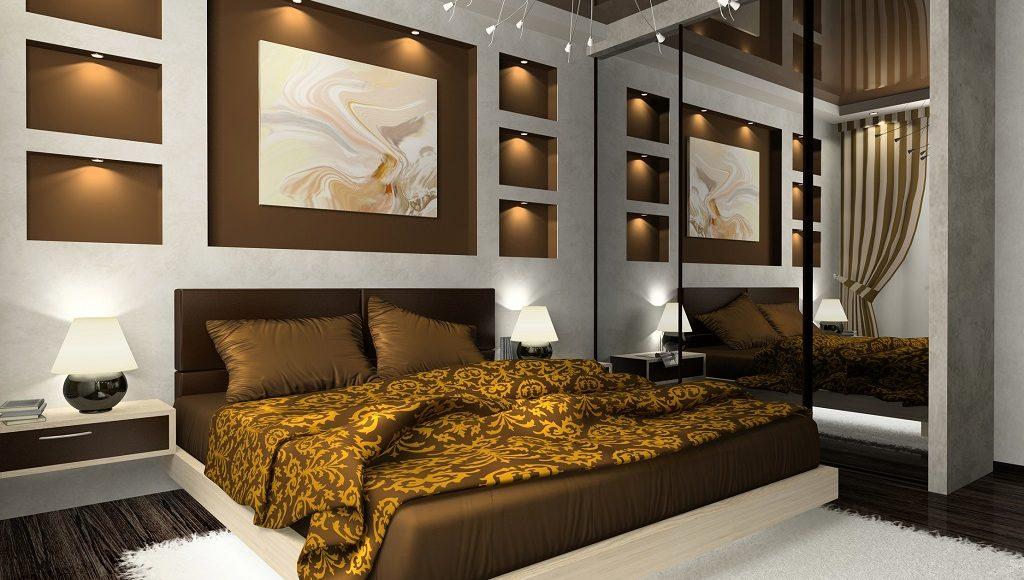 łóżko małżeńskie z brązowym materacem