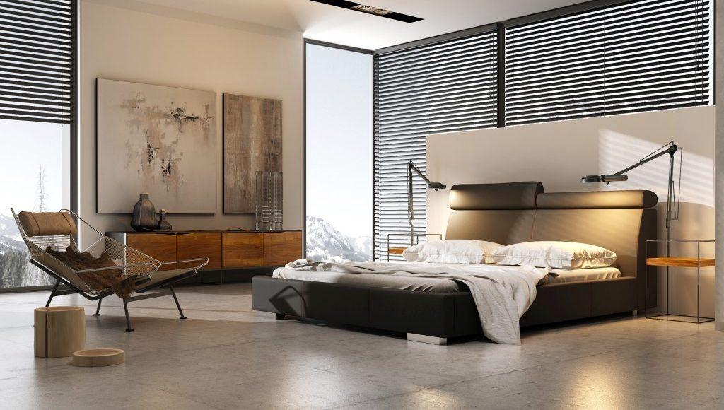 Proste łóżko tapicerowane razem z zagłówkiem - Modern