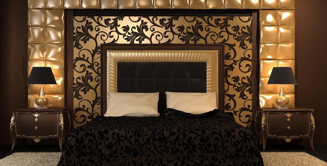 Widok frontowy łóżka tapicerowanegow stylu glamour