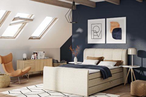 Łóżko tapicerowane EVELINE